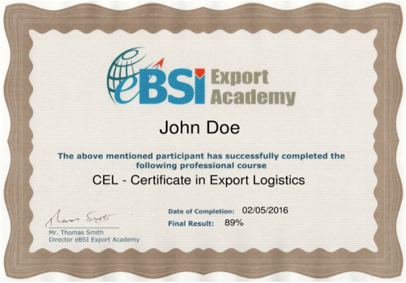 CEL - Certificate in Export Logistics - eBSI Export Academy