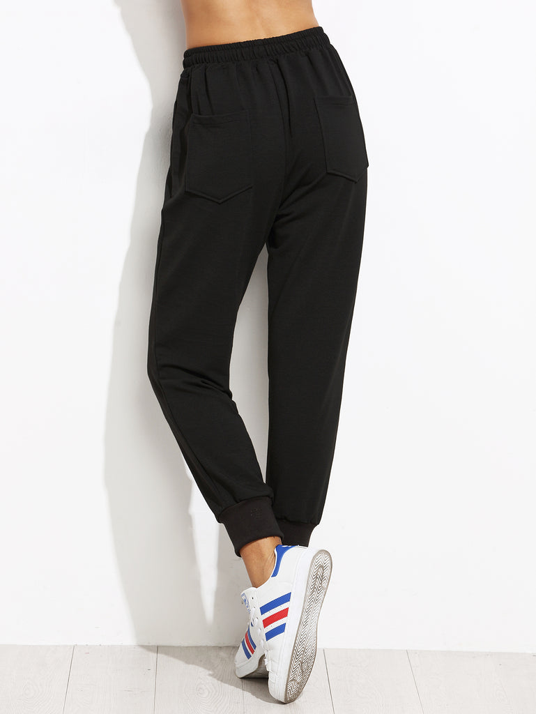 Drawstring Joggers with Embroider Patch