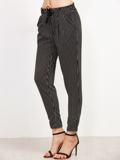 Vertically Striped Drawstring Pants