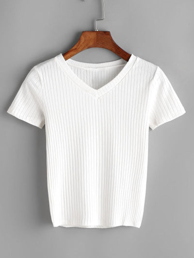 Minnie Ribbed V Neck T-Shirt
