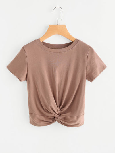 Almond Twisted Front Crop T-shirt