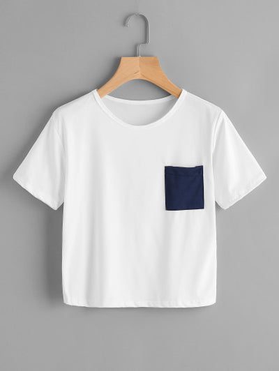 Boxy T-Shirt with Navy Chest Pocket
