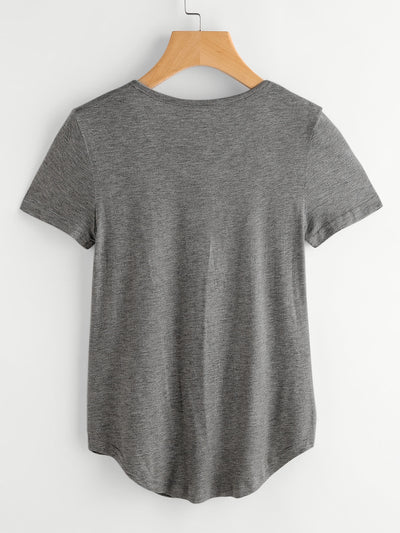Everyday Stretchy T-shirt with V Neck Line and Pocket Detail