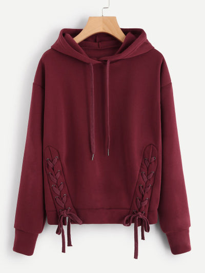 Soft Lace Up Side Marled Hoodie