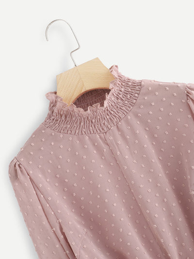 Frill Collar Dot Embroidered Blouse