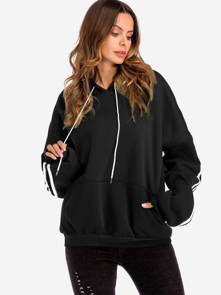 Soft Hoodie With Striped Sleeves