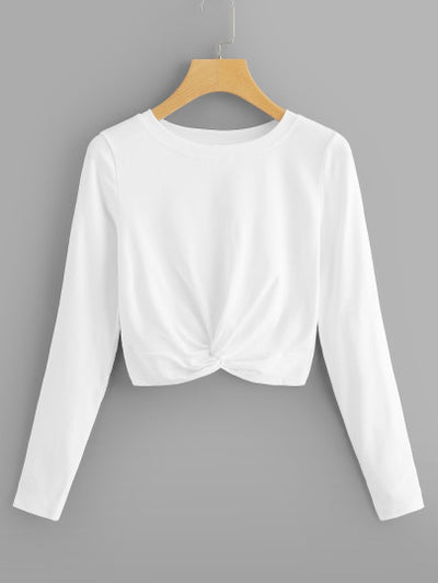Marcella Twisted Hem Crop Top in White