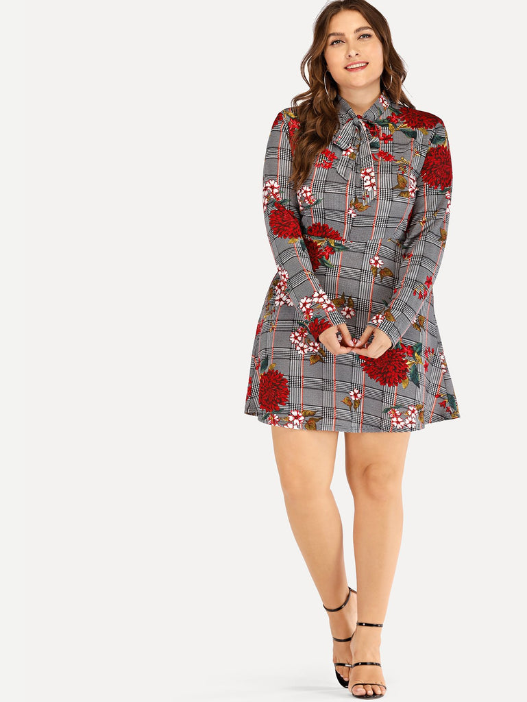Knot Tie Floral Embroidery Dress