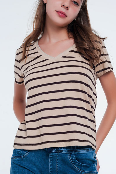 Nude and Black Stripe V Neck T-Shirt