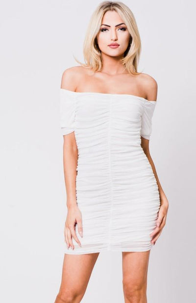 Off the Shoulder Ruched Mini Dress
