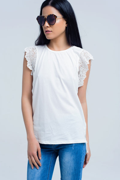 Soft White T-Shirt With Lace Back and Ruffle Detail