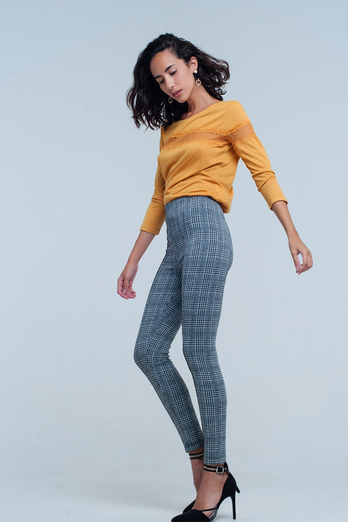 Check Print Legging in Grey