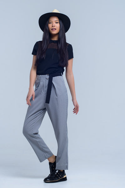 High Waist Trousers with D-Ring Belt
