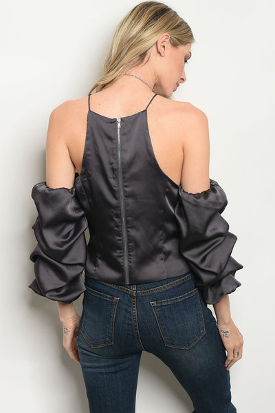 Satin Puff Sleeve Blouse