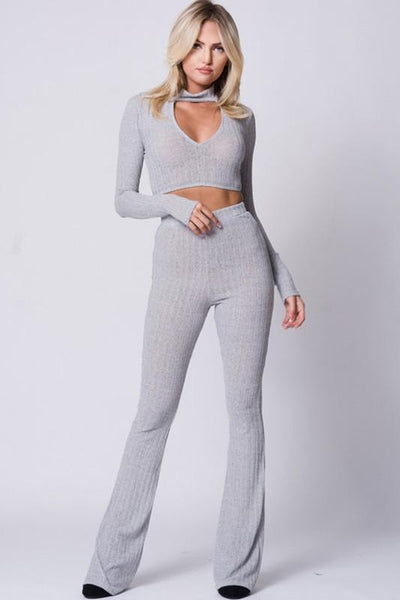 Ribbed Crop top and Flare Pant Set in Gray