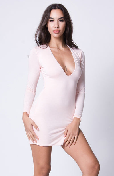 V Neck Long Sleeve Mini Dress