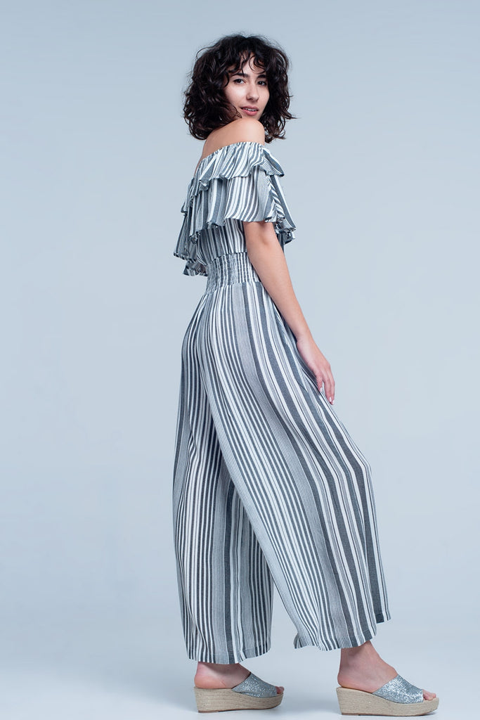 Striped Off the Shoulder Jumpsuit with Ruffles