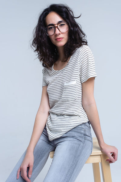 Oatmeal and Black Striped T-Shirt with French Pocket