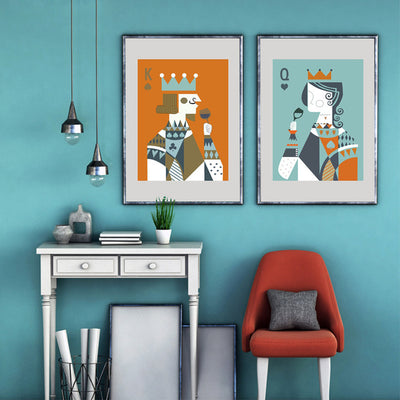 Poker King & Queen Abstract Playing Art Print