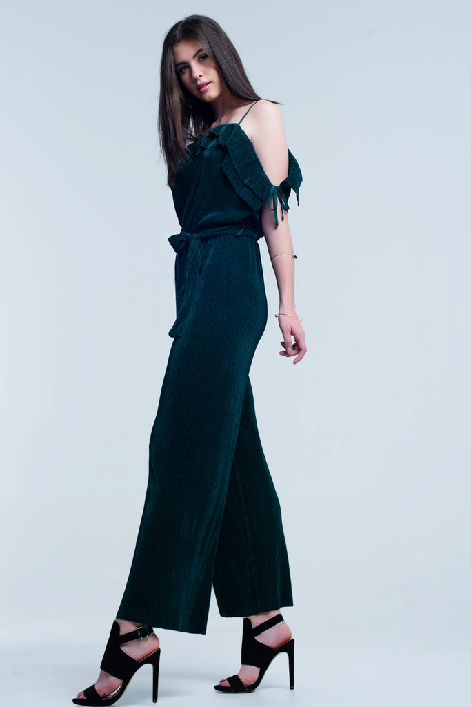Slouchy Dot Ribbed Jumpsuit