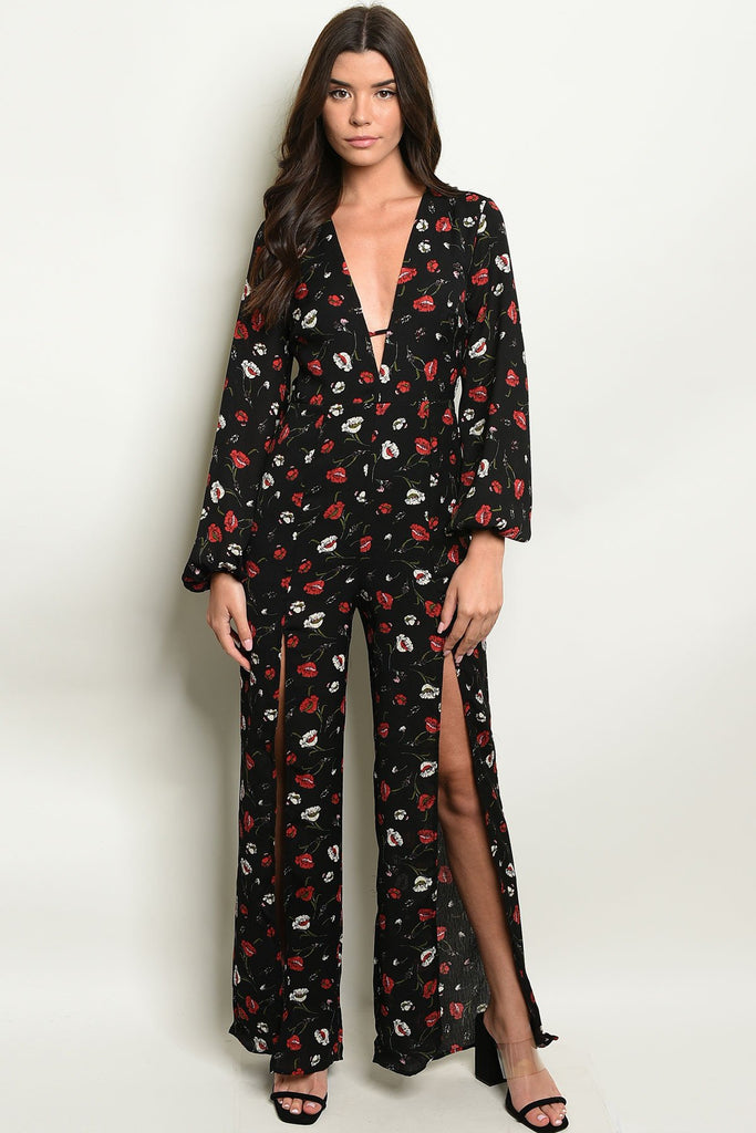 Black Floral Jumpsuit with Double Slit