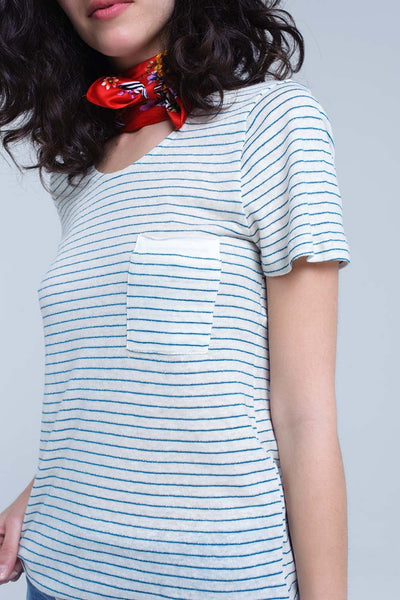 Oatmeal and Turquoise Striped T-Shirt with French Pocket