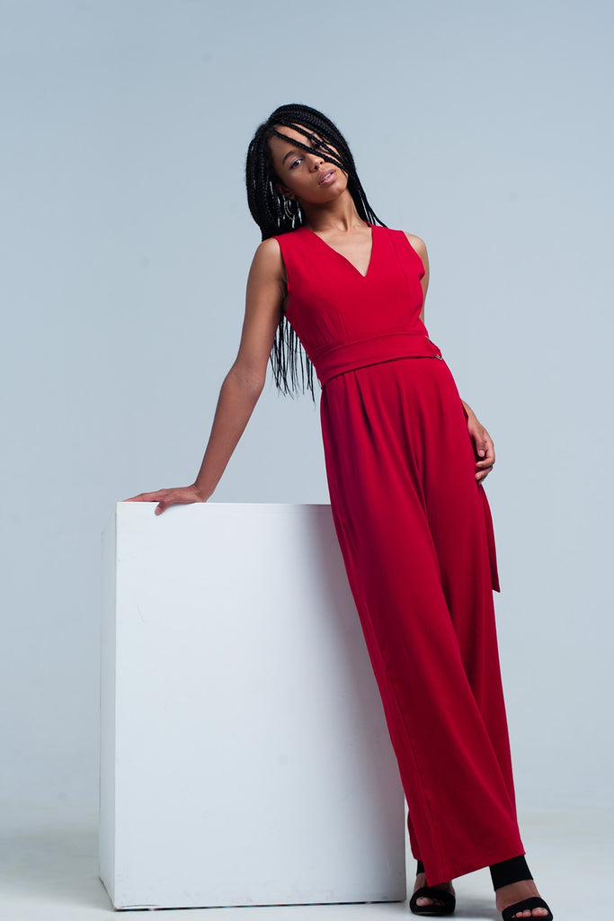 Curve Hugging Red Jumpsuit with Belt
