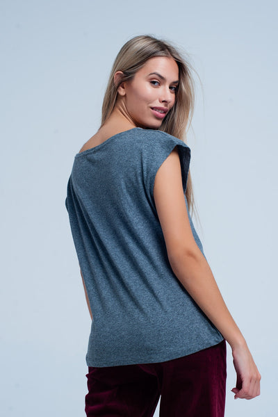 Grey Scoop Neck T-Shirt with Seamless Shoulder