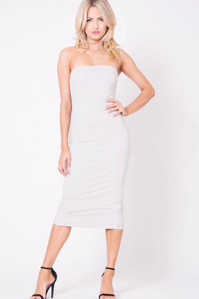 Strapless Suede Midi Dress