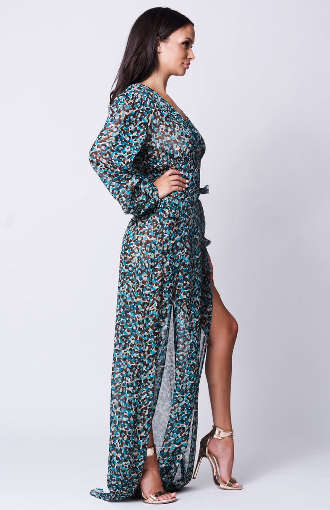 Peacock Double Slit Maxi Dress