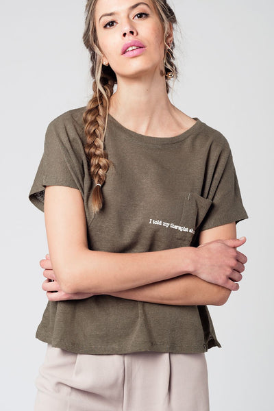 Natural Color T-Shirt with Embroidery Pocket Detail