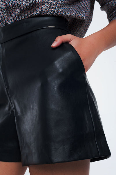 Faux Leather Trouser Shorts
