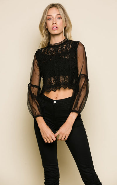 Lanai Lace Mock Neck Top