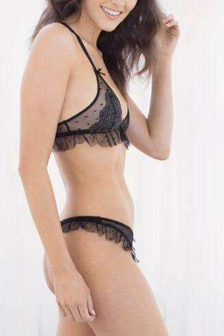 Dot Lace Ruffle Thong