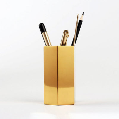 Hexagon Brass Pencil and Pen Desk Organizer