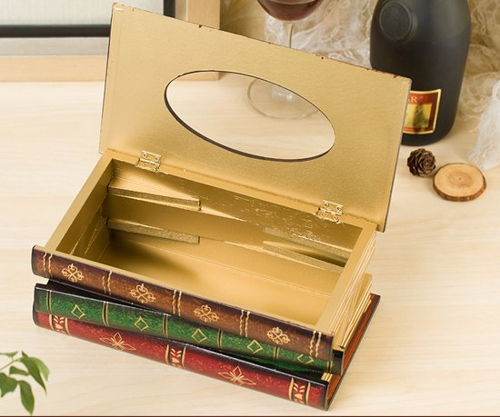 Wooden Tissue box as Vintage Books