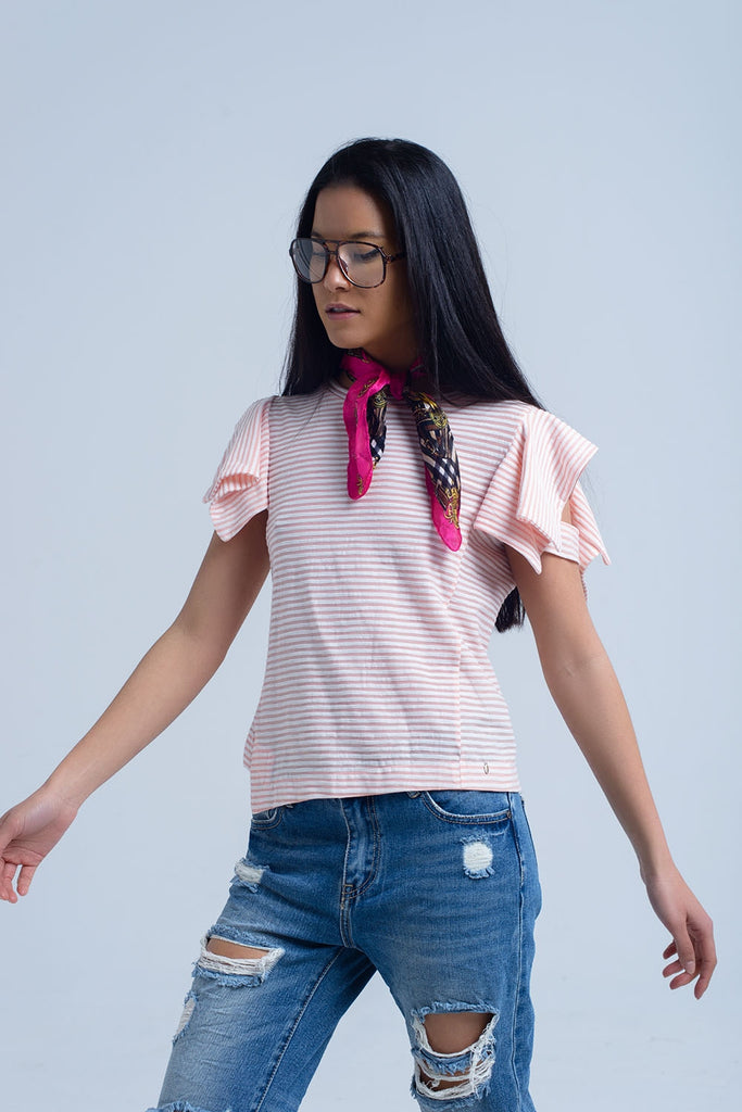 Stripe T-Shirt with Asymmetrical Puff Sleeve Detail