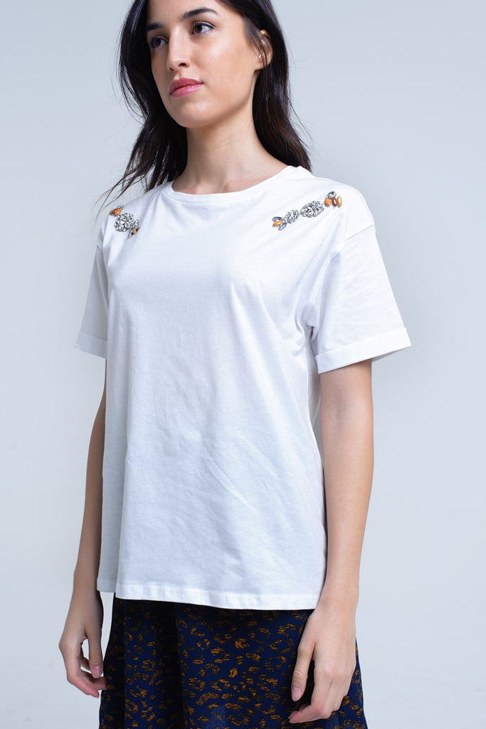 White T-Shirt with Statement Embellishments