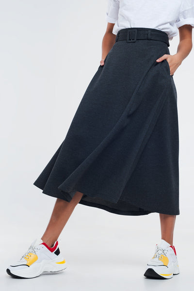 Gray Midi Skirt With Pockets