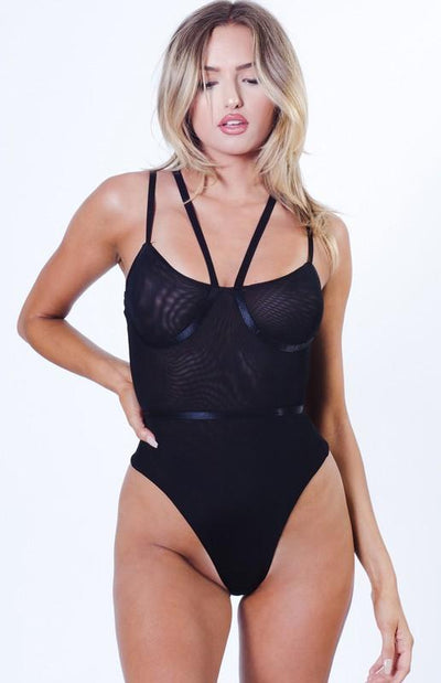 Double Layered Mesh Strappy Bodysuit