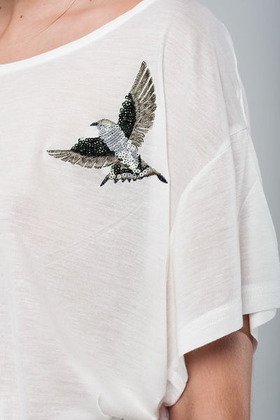 Soft Drop Shoulder T-Shirt with Hummingbird Embroidery