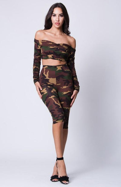 Sweetheart Shoulder Camo Print Set