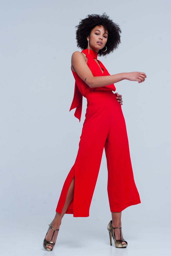 High Neck Jumpsuit with Chest Cut Out and Back Tie