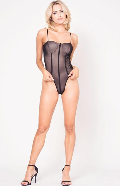 Spaghetti Strap Bodysuit with Piping