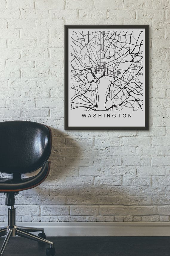 Washington Map Print Washington Art Washington