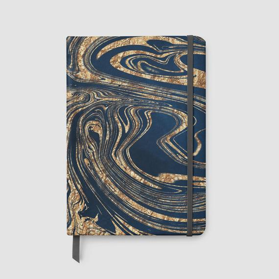 Faux Leather Marble Swirl Lined Notebook