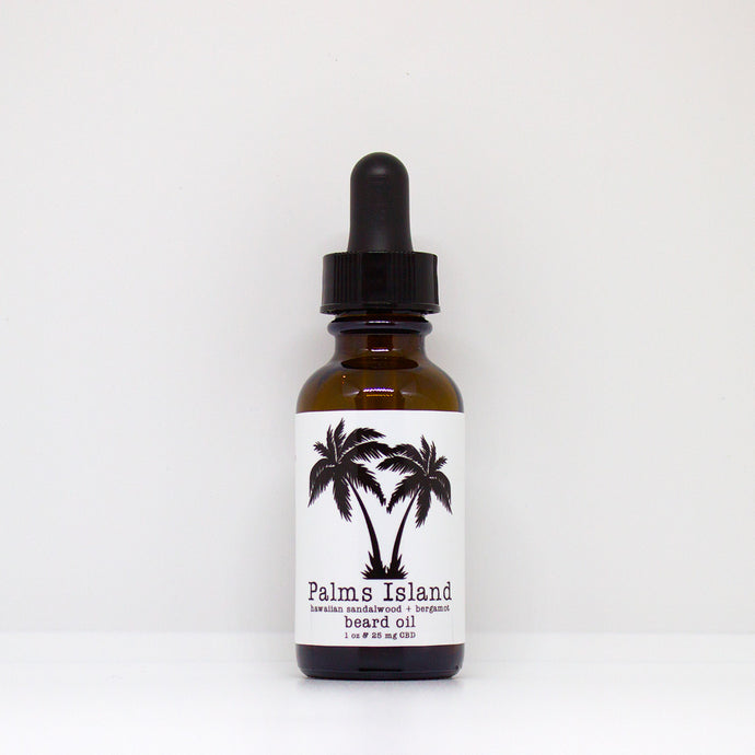 Hawaiian Sandalwood + Bergamot CBD Beard Oil - Palms Island