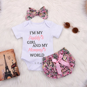 DADDY'S GIRL AND MOMMY'S WORLD 3 Piece Baby Girls Set