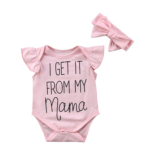 I GET IT FROM MY MAMA Pink Baby Girl Bodysuit And Headband Set
