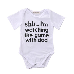 SHHH I'M WATCHING THE GAME WITH DAD! Baby Bodysuit
